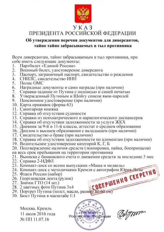 Секретный указ Путина для Российских войск на Украине