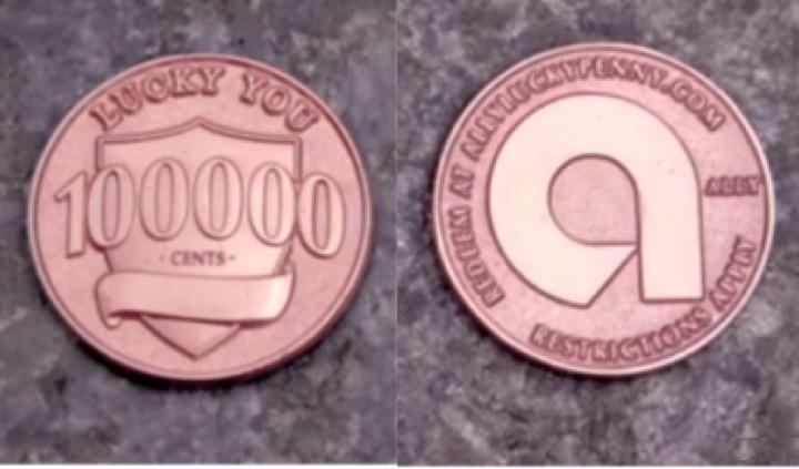 100 000 центов одной монетой