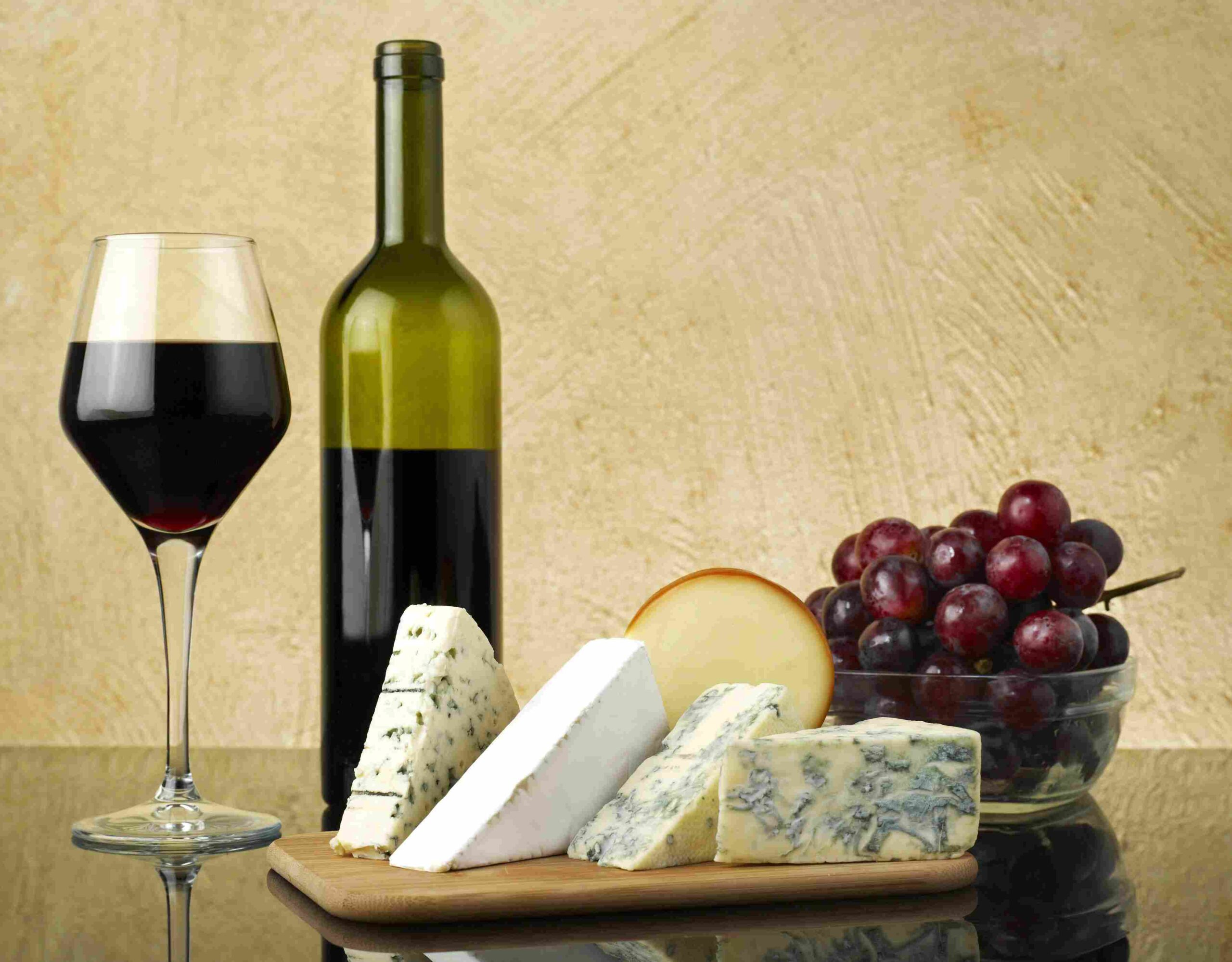 Красивая фотография вина и сыра